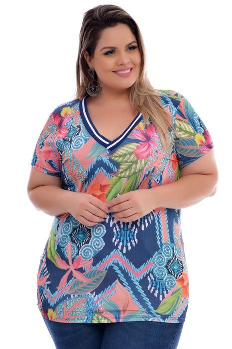 Blusa Plus Size Floral Sport
