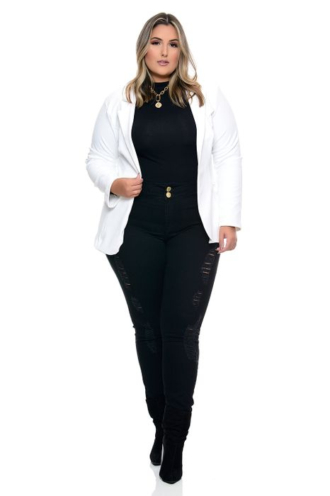 Blazer Plus Size Conforto Extremo Branco
