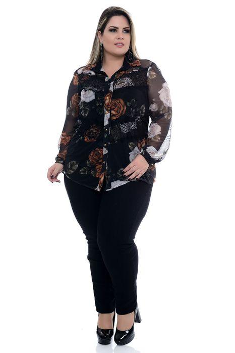 Camisa Plus Size Tule Floral