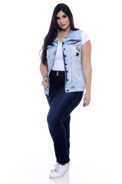 Colete Plus Size Jeans Estrela