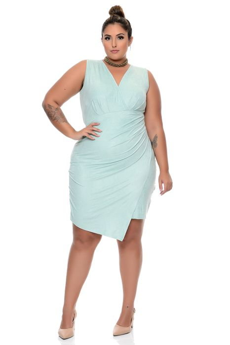Vestido Plus Size Transpassado Malha Suede