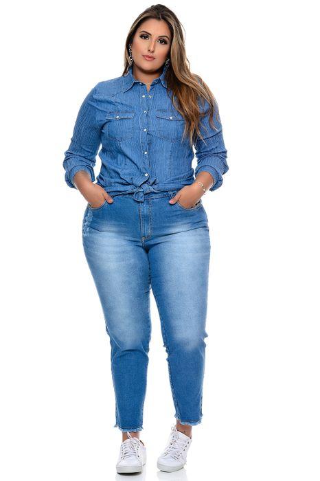 Camisa Plus Size Jeans Texturizado
