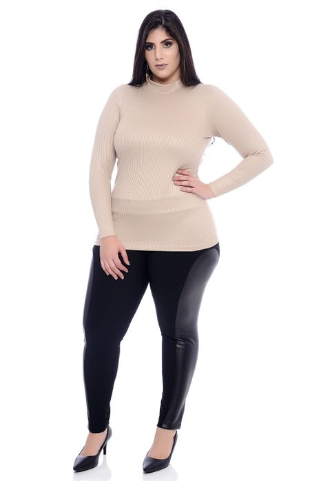 Blusa Plus Size Básica Caqui