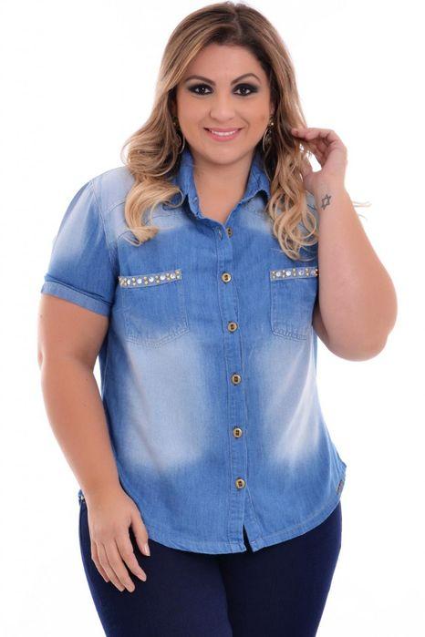Camisa Jeans Plus Size Angeliny