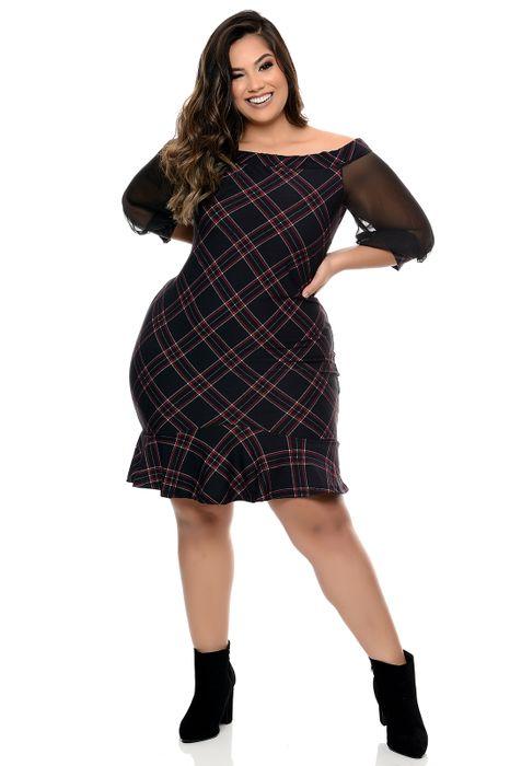 Vestido Plus Size Decote Canoa Xadrez