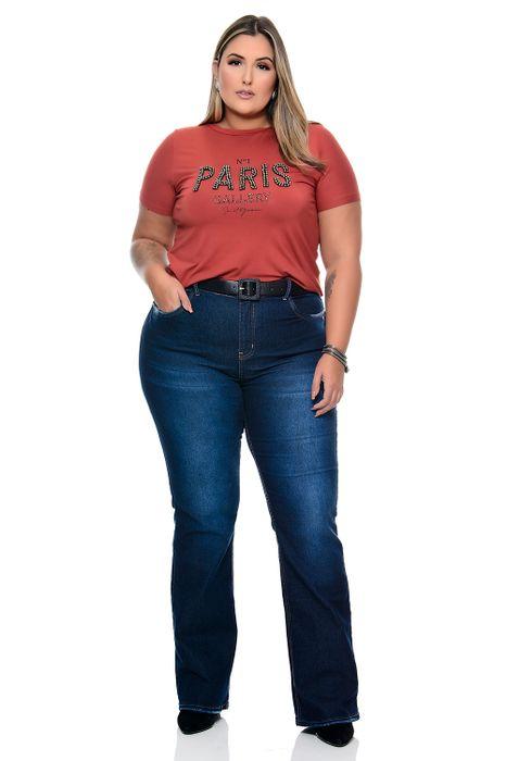 T-shirt Plus Size Bordado Paris