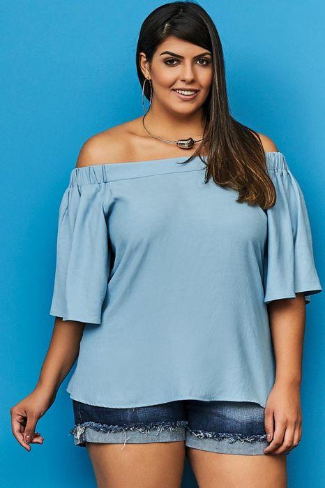 Blusa Plus Size Azul Céu