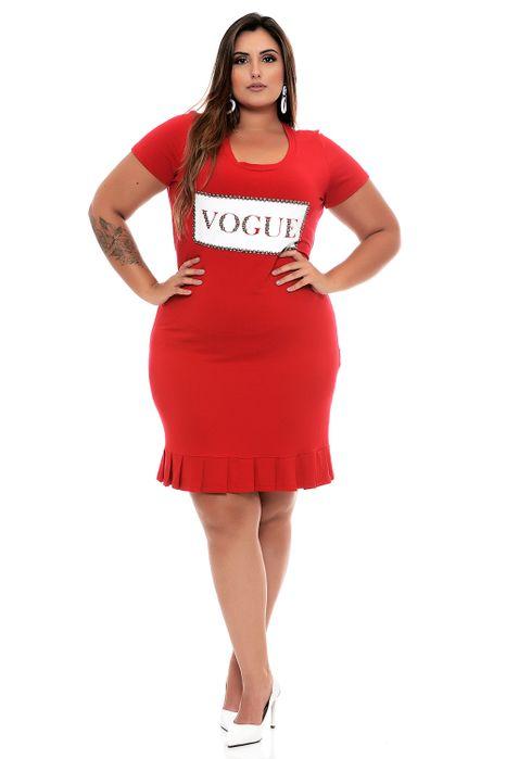 Vestido Plus Size Vermelho Vogue