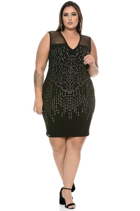 Vestido Plus Size Curto Hot Fix Transparência Preto