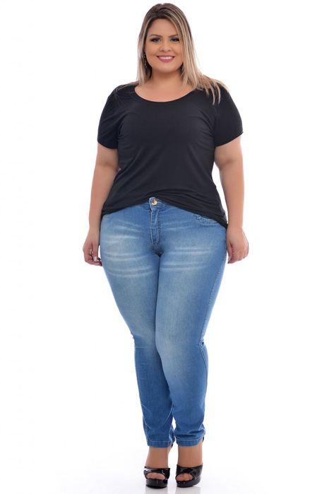 Calça Plus Size Jeans Lavagem Clara