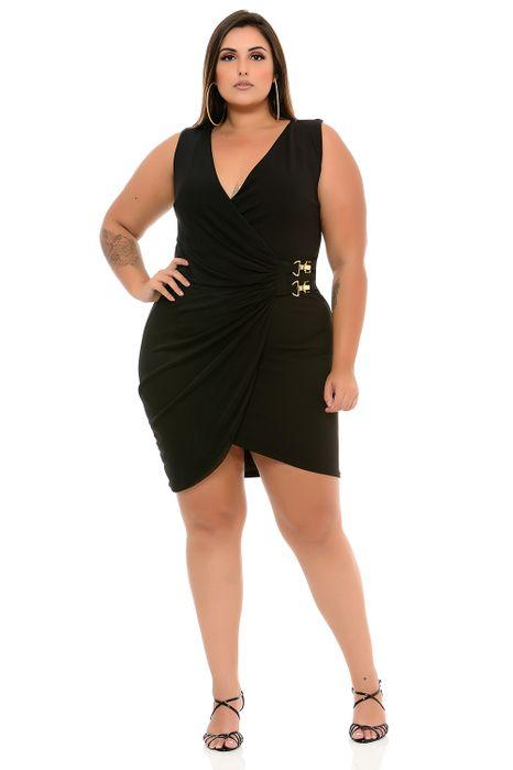 Vestido Plus Size Transpassado Preto Mosquetão