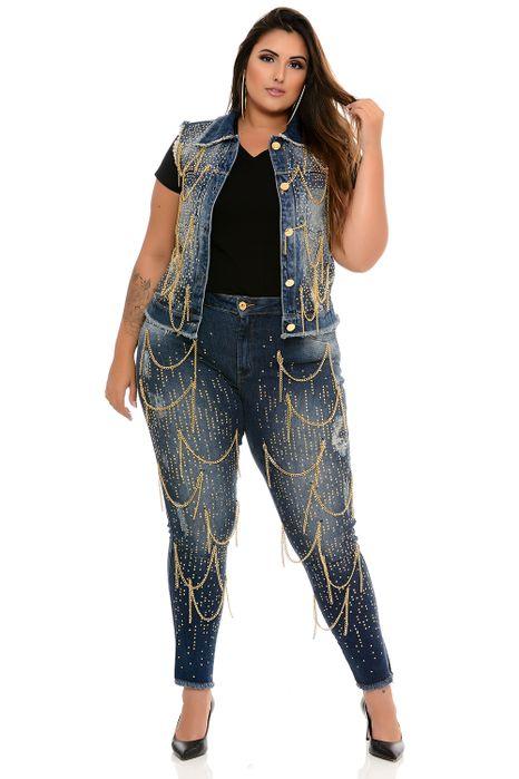 Colete Plus Size Jeans Correntes