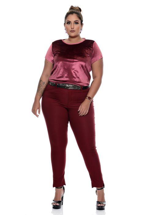 Blusa Plus Size Veludo Molhado Fucsia