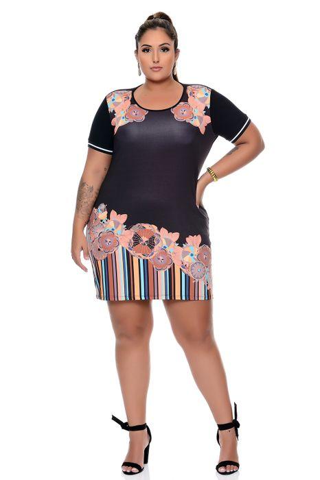 Vestido Plus Size Curto Estampado Mix