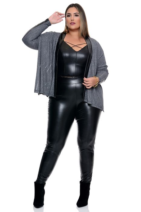 Cardigan Plus Size Tricot Mescla