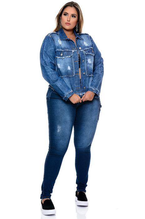 Jaqueta Jeans Plus Size Destroyed